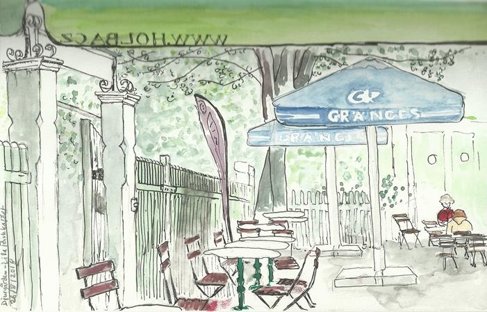 urban sketching - djurgården lilla parkkafeet