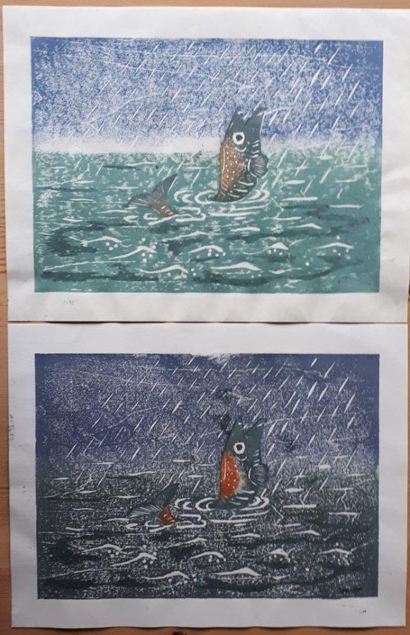 japanse houtsnede twee afdrukken