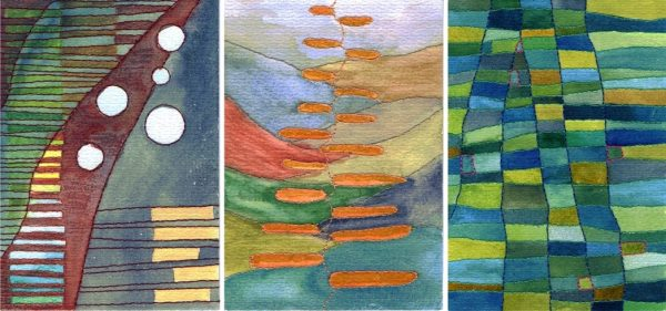 aquarel en borduurwerk