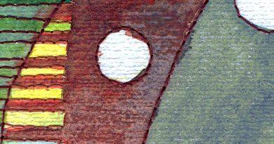 aquarel en borduurwerk, detail